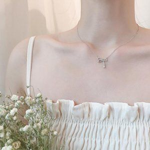 Jewelry - NEW 925 Sterling Silver Diamond Bow knot Necklace